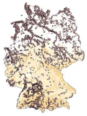 Zählgebiete der WVZ in Deutschland. Stand: August 2015